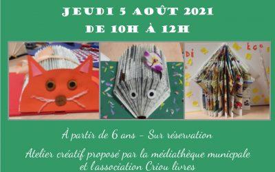 Atelier créatif «Livres en plis» – Jeudi 5 août 2021