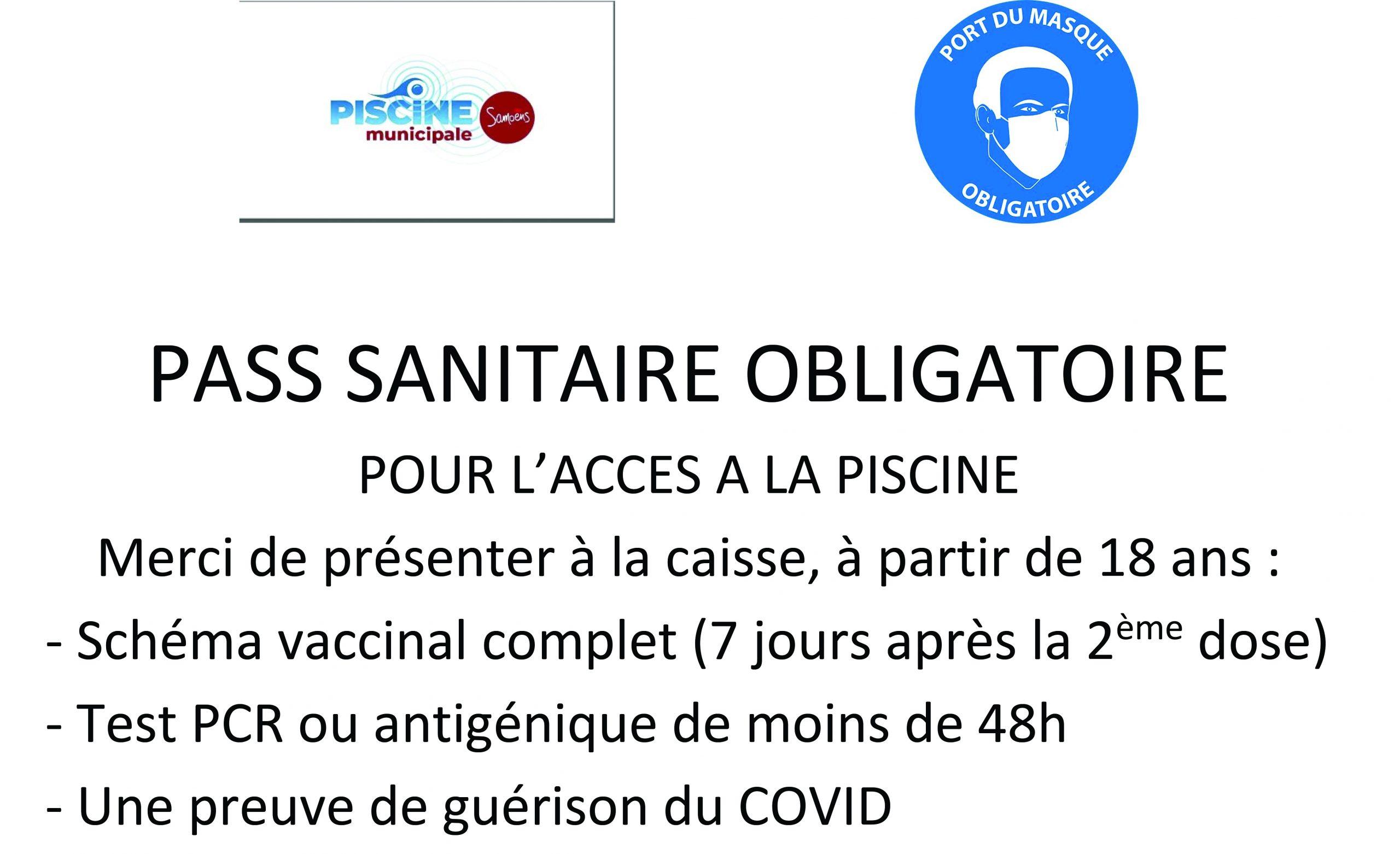 Piscine municipale – Mise en vigueur du pass sanitaire