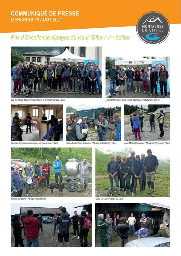 Prix d'excellent alpages CCMG : remerciements aux participants, alpagistes et partenaires techniques