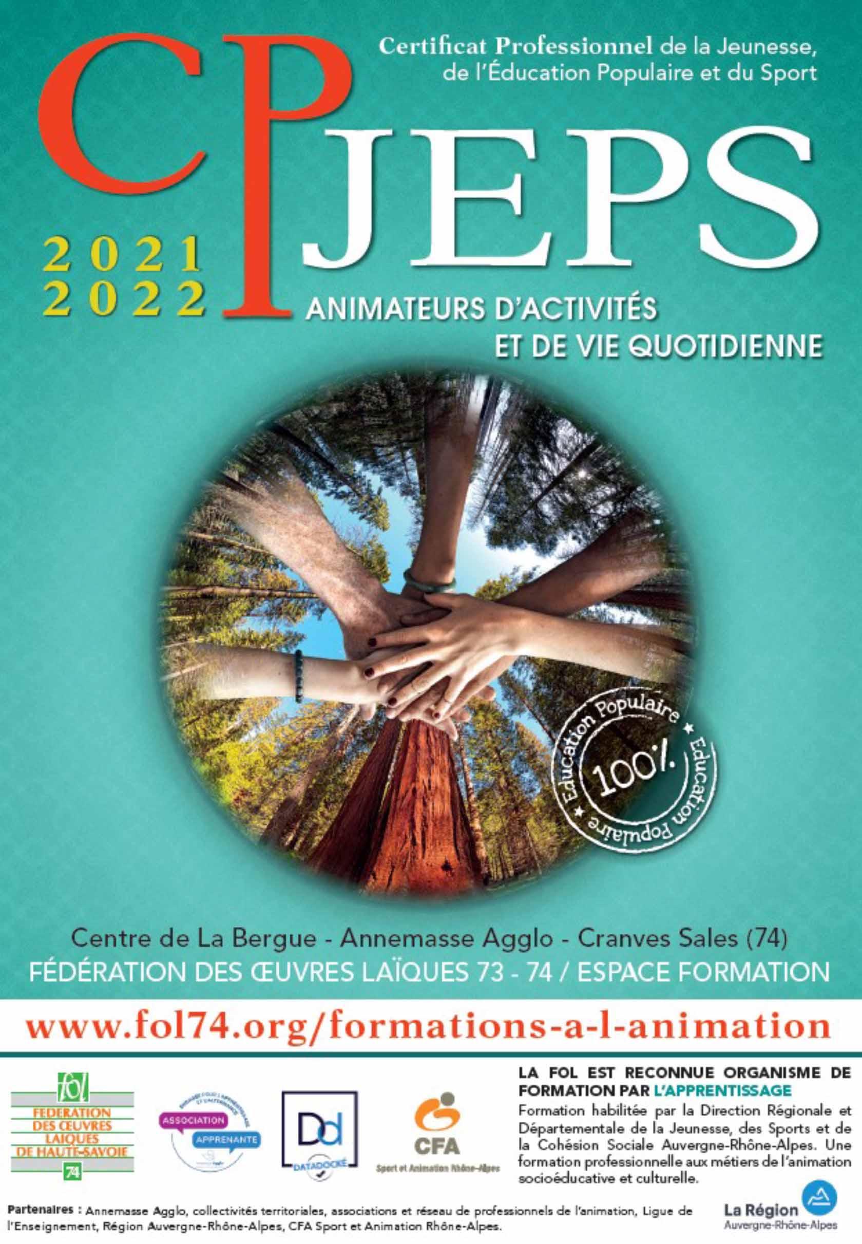 Prochaine session de formation CPJEPS du 15 novembre 2021 au 9 décembre 2022