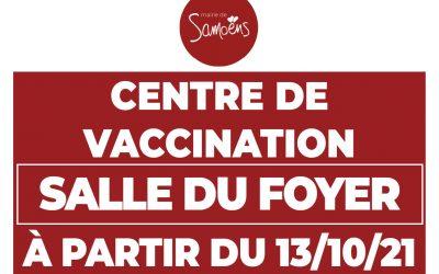 Déplacement du centre de vaccination à la salle du Foyer